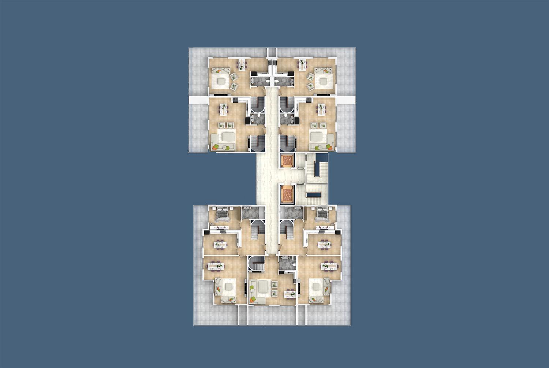 "Gebäudeplan 12 Etage ""C"" Yekta Kingdom Trade Center"