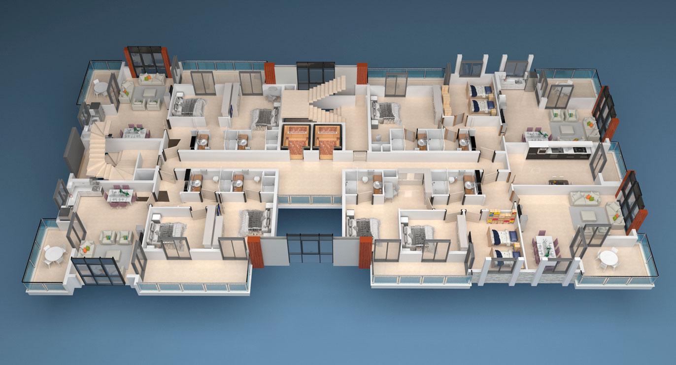Floor plans of apartments 4 floor «A» Yekta Alara Park Residence