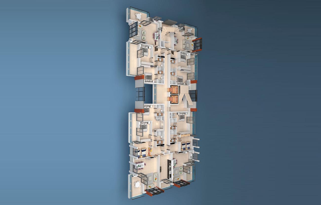 Floor plans of apartments 1 floor «A» Yekta Alara Park Residence