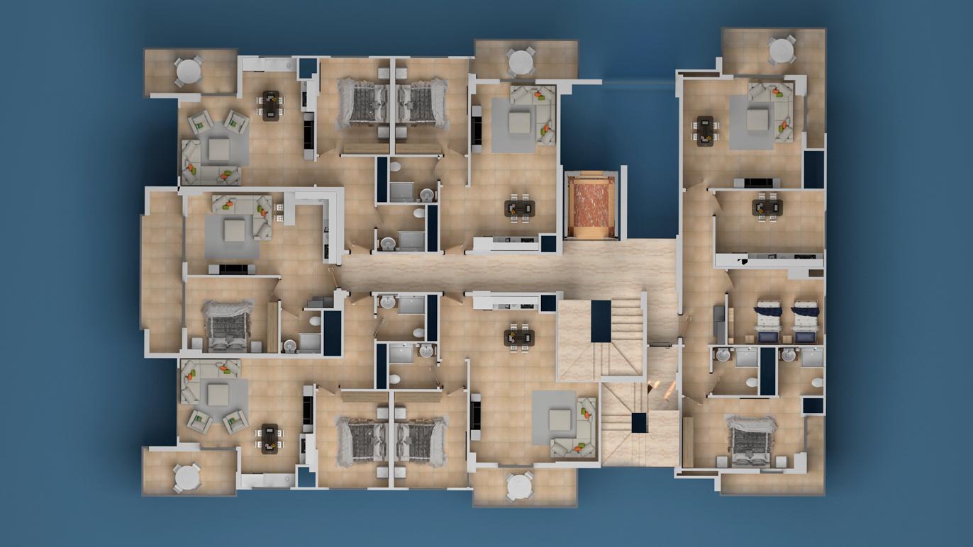Floor plans of apartments 3 floor Investment Plus