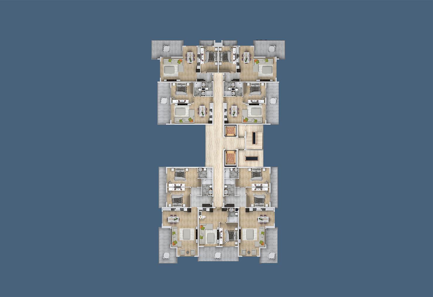 Floor plans of apartments 9 floor «C» Yekta Kingdom Trade Center