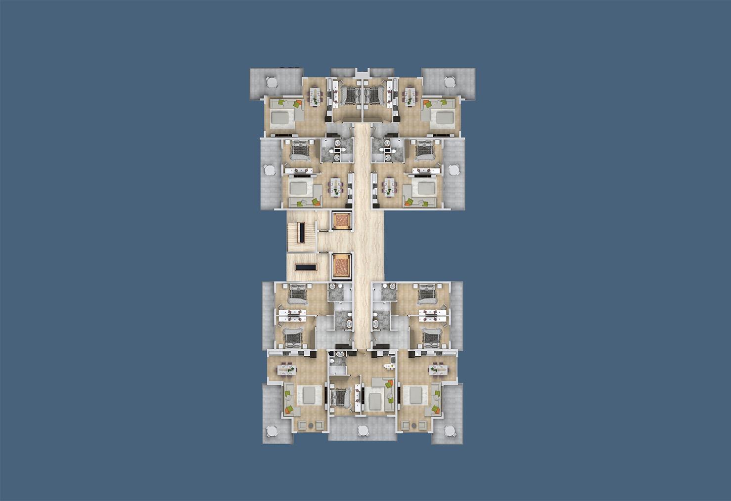 Floor plans of apartments 3 floor «B» Yekta Kingdom Trade Center