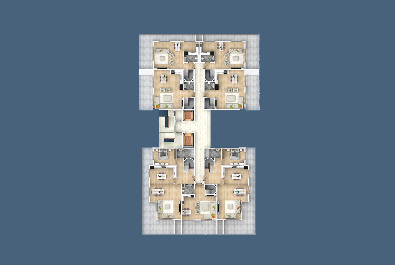 Floor plans of apartments 12 floor «D» Yekta Kingdom Trade Center