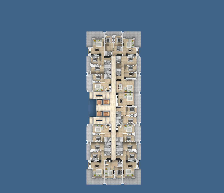 Floor plans of apartments 2 floor «B» Yekta Kingdom Premium