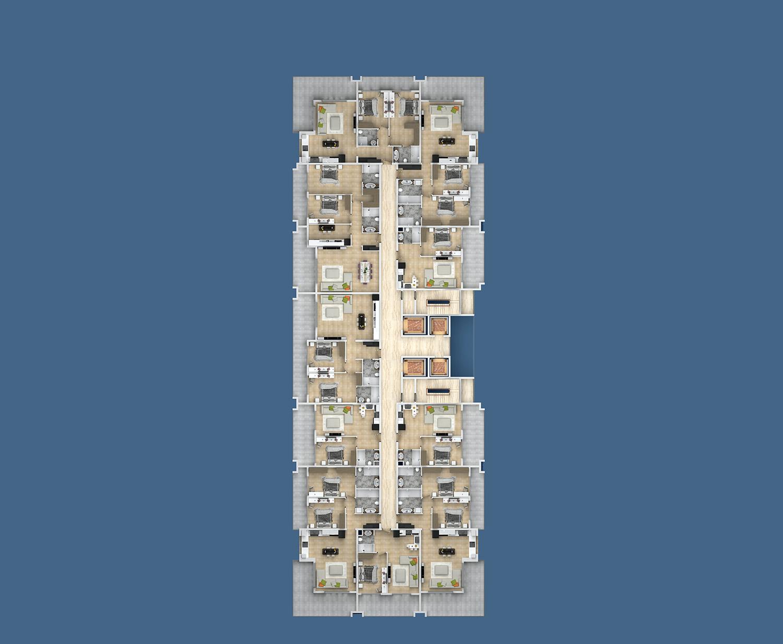 Floor plans of apartments 8 floor «E» Yekta Kingdom Premium