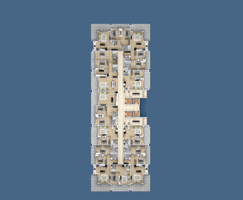 Floor plans of apartments 9 floor «E» Yekta Kingdom Premium