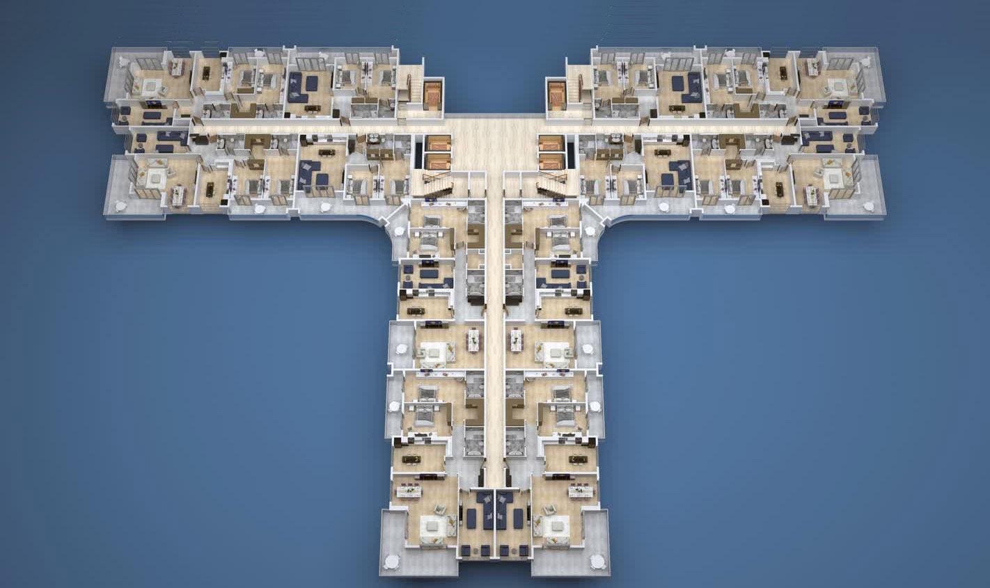 Floor plans of apartments 2 floor «A» Yekta Kingdom Premium