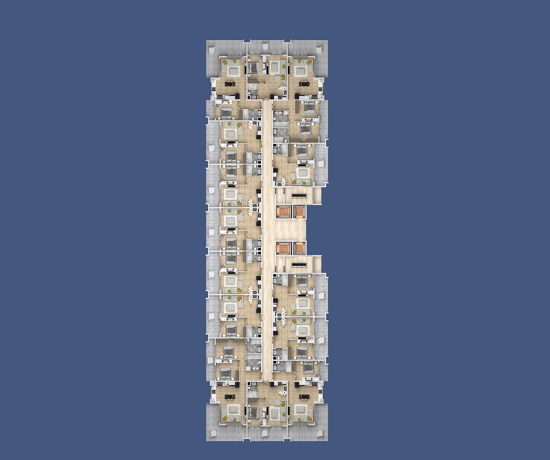 Floor plans of apartments 9 floor «D» Yekta Kingdom Premium