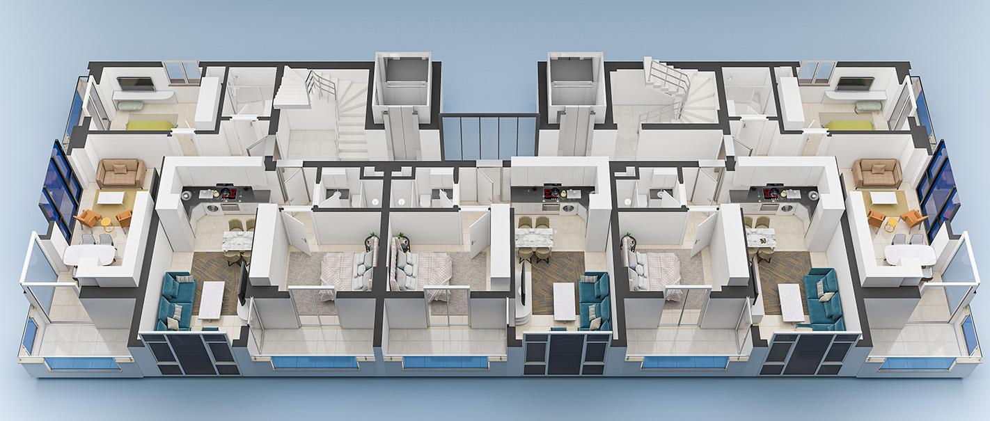 Floor plans of apartments 2 floor Yekta Blue 3