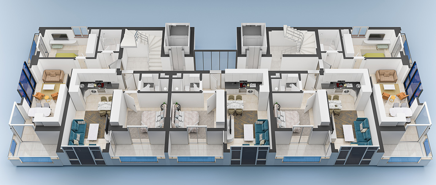 Floor plans of apartments 1 floor Yekta Blue 3