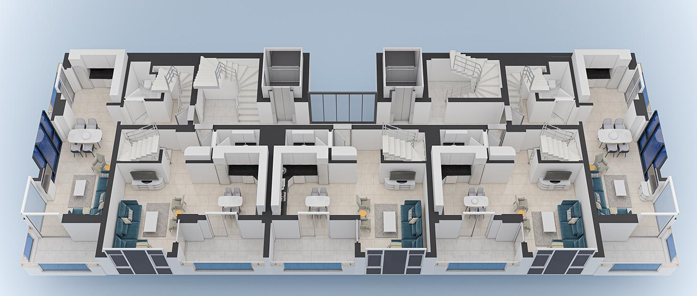 Floor plans of apartments 9 floor Yekta Blue 3